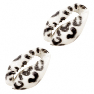 Shell beads specials Cowrie Leopard black-white