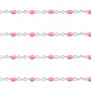 Stainless steel findings belcher chain 1mm Pink-Silver