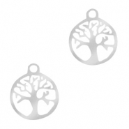 Stainless steel charms tree of life 10mm Silver