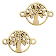 DQ European metal charms connector tree round 12mm Antique Bronze  (nickel free)