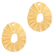 DQ European metal charms oval Gold (nickel free)