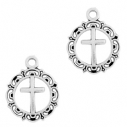 DQ European metal charms Cross round 16mm Antique Silver (nickel free)