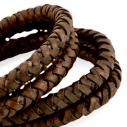 DQ round braided leather 6mm Medium earth brown-vintage finish