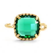 Crystal glass connectors square 9x9mm Emerald Green-Gold