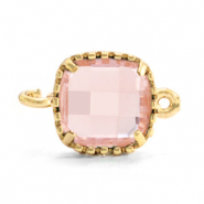 Crystal glass connectors square 9x9mm Vintage Pink-Gold