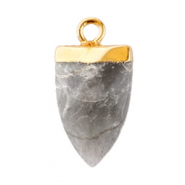 Natural stone charms tooth Neutral Grey-Gold