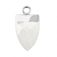 Natural stone charms tooth Marble White-Silver