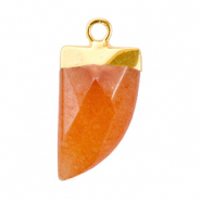 Natural stone charms tooth Living Coral Red-Gold