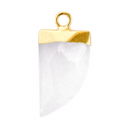 Natural stone charms tooth Storm Grey-Gold
