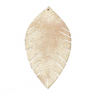 Faux leather pendants leaf medium Vintage Champagne Beige