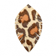 Faux leather pendants leaf medium leopard Beige-Red Brown