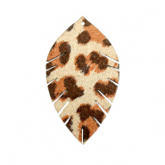 Faux leather pendants leaf small leopard Beige-Red Brown