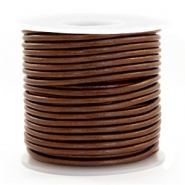 Benefit package DQ leather round 3 mm Pecan Brown Metallic