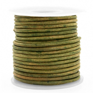 DQ leather round 3 mm Vintage Moss Green