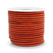 DQ leather round 2 mm Vintage Fired Orange