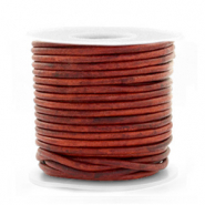 DQ leather round 2 mm Vintage Burgundy Red