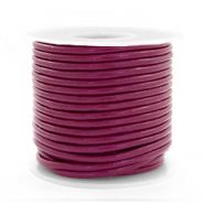 DQ leather round 2 mm Aubergine Purple