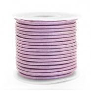 DQ leather round 2 mm Lilac Purple Metallic
