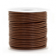 DQ leather round 1 mm Pecan Brown Metallic