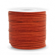 DQ leather round 1 mm Vintage Fired Orange