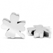 Stainless steel beads clover Silver