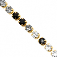 Rhinestone chain Black Crystal-Gold
