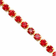 Rhinestone chain Siam Red-Gold