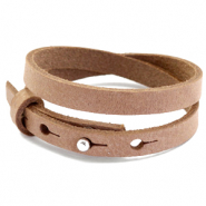 Cuoio bracelets leather 8mm double for 12mm cabochon Toasted Nut Brown