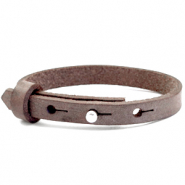 Cuoio bracelets leather 8mm for 12mm cabochon Graphite Brown