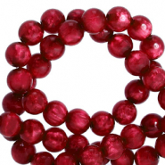Polaris beads round 8 mm pearl shine Rubino Red