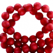 Super Polaris beads round 8 mm matt Rubino Red