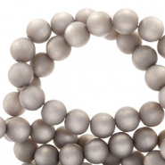 Super Polaris beads round 6 mm matt Acciaio Grey