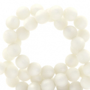 Super Polaris beads round 8 mm matt Bianco White