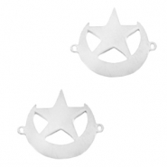 Stainless steel charms connector moon and star Silver