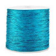 Macramé bead cord metallic 0.5mm Azure Blue
