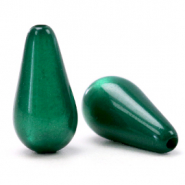 Super Polaris Elements drop shaped beads shiny Agate Green