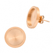 Polaris Steel earrings with setting for 12mm cabochon Rosegold