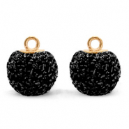 Pompom charms with loop glitter 12mm Black-Gold