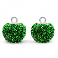 Pompom charms with loop glitter 12mm Irish Green-Silver