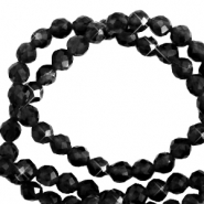 3 mm natural stone faceted beads crystal Black