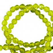 2 mm natural stone faceted beads crystal Olivine Green
