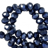 Top faceted beads 8x6mm disc Anthracite Blue-Pearl Shine Coating