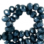 Top faceted beads 6x4mm disc Depths Blue-Pearl Shine Coating