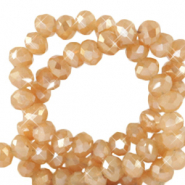 Top faceted beads 3x2mm disc Peachy Beige-Pearl Shine Coating