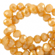 Top faceted beads 4x3mm disc Ceylon Yellow-Pearl Shine Coating