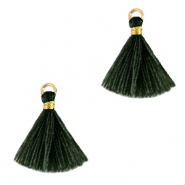 Tassels 1.5cm Gold-Dark Classic Green