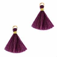 Tassels 1.5cm Gold-Aubergine Purple