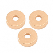DQ European metal beads disc rondelle 6x2mm Rose Gold (nickel free)