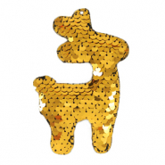 Charm with 1 eye sequin reindeer Gold