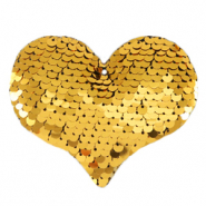 Charm with 1 eye sequin heart Gold